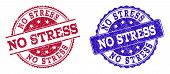 Grunge No Stress Seal Stamps In Blue And Red Colors. Stamps Have Draft Style. Vector Rubber Imitatio poster