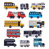 Bus Vector Public Transport Tour Or City Vehicle Schoolbus Sightseeing-bus Transporting Passengers I poster
