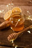 Composition With Honey, Lemon And Ginger As Natural Cold Remedies On White Wooden Background, Flu Re poster