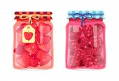 Preserved Food In Jars, Fruits With Jam Or Compote. Sweet Strawberries And Raspberries, Products Con poster