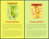 Preserved Food Posters, Vegetable And Fruit. Cucumbers With Garlic, Sweet Ripe Apricots In Juice Ins poster