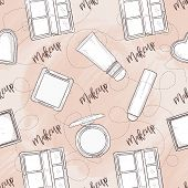 Seamless Pattern, Handdrawn Set Of Blush And Bronser, On Watercolor Spot, Makeup Products poster