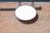 Empty Sign Board, Black Frame Light Sign Board On Red Brick Wall Background Display Exterior Design  poster