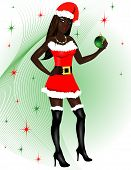 picture of black american  - Vector Illustration for Christmas of a dressed up Sexy Santa Costume - JPG