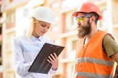 Successful Deal Concept. Foreman Established Supply Of Building Materials. Expert And Builder Commun poster