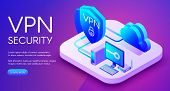 Vpn Security Technology Isometric Illustration Of Digital Personal Data Protection Software. Private poster
