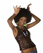 picture of anorexic  - African American girl dancing casual dressed with afro hairstyle - JPG