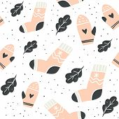 Autumn Vector Seamless Pattern With Cute Socks, Mittens And Leaves On White. Funny Doodle Socks With poster