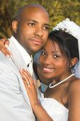 picture of wedding couple  - Bridal Couple on their summer wedding day - JPG