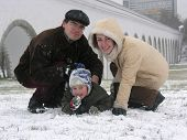 Family Of Three. Snow. Winter