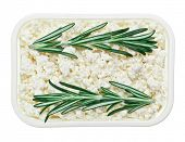 Cottage cheese (curd) in square plate with rosemary twig, isolated on white