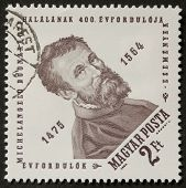 HUNGARY - CIRCA 1964: a stamp printed in Hungary celebrates the forth centenary of Michelangelo deat