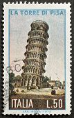 ITALY - CIRCA 1973: a stamp printed in Italy shows image of the leaning tower of Pisa, Italy, circa 1973