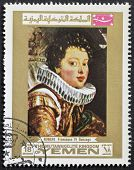 YEMEN - CIRCA 1969: a stamp printed in Yemen shows a portrait of Francesco IV Gonzaga, painted by Rembrandt, the famous Dutch artist. Yemen, circa 1969