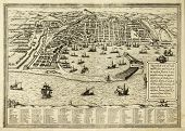 Antique map of Messina the town of Sicily separated from Italy by the strait of the same name. The m