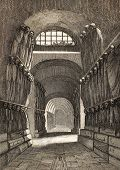 Antique illustration of Cappuccini Catacombs in Palermo, Italy. The original engraving was created by Lenormand e Lamargue and may be dated to the half of 19th c.