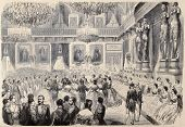 Antique illustration of Grand Bal in Tuileries Palace. Original, after drawing of G. Durand, was  pu