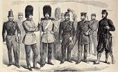 Old illustration of British riflemen uniforms. Original, from drawing of G. Durand, was published on â??L'Illustration, Journal Universelâ?, Paris, 1860