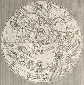 Antique illustration of  Celestial Planisphere (northern hemisphere) with constellations. Original e