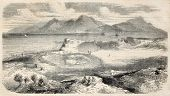 Old artificial harbour of Carthage, the ancient Punic city near Tunis. Original, from a drawing of R
