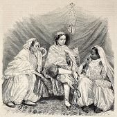 Antique illustration of Moorish women in home interior in Algiers. Original, from drawing of Janet-L