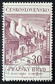 CZECHOSLOVAKIA - CIRCA 1966: a stamp printed in  Czechoslovakia shows the Golden Lane (Zlata Ulicka) , in the complex of Prague Castle. Czechoslovakia, circa 1966