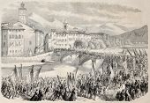 People reaching Nice from the country to vote annexation to France. Original, from drawing of Durand
