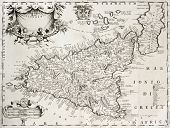 An old map of Sicily, the original was created by V. M. Coronelli and was published in Venice in 169