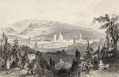 Antique illustration of Florence cityscape, Italy. Original, created by W. H. Bartlett and S. Bradsh