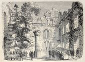 Antique illustration shows aristocratic dining among ruins of old Baden castle. Original, from drawi