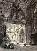 Old illustration of Madonna del Carmine church interior in Naples, Italy. Original, created by W. L.