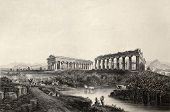 image of luigi  - Antique illustration of Paestum temples in southern Italy - JPG