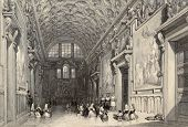 Antique illustration of the Sala Regia, in Vatican Town. Original, created by W. L. Leitch and E. Ch