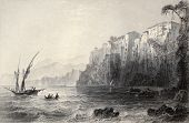 Antique illustration of Sorrento, Italy. Original, created by W. H. Bartlett and J. C. Bentley, was