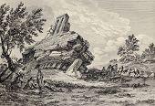 Capital of Giants Temple fallen down. Agrigento, Sicily. Created by Houel and Du Parc, published on Voyage Pittoresque de Naples et de Sicilie, by J. C. R. de Saint Non, Impr. de Clousier, Paris, 1786