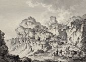 View of Enna surrounding mountains, Sicily. Created by Chatelet and Dambrun, published on Voyage Pit