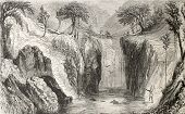 pic of indium  - Antique illustration shows liana bridge in a wild region of Central America - JPG
