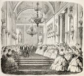 King Vittorio Emanuele during entertainment in a historical building in Florence. From drawing of Ja