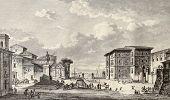 Old view of Royal square in Messina, Sicily. By Desprez and De Ghendt, published on Voyage Pittoresque de Naples et de Sicilie,  J. C. R. de Saint Non, Impr. de Clousier, Paris, 1786