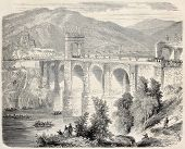Old illustration of Alcantara Bridge blessing after restoration, Spain. Original, from drawing of Ro