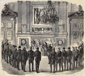 Old illustration shows delegation of Savoy received by Emperor Napoleon III in Tuileries Palace. Original, created by Godefroy and Durand, published on L'Illustration, Journal Universel, Paris, 1860