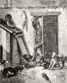 Old illustration of a man entering in a kennel brandishing whip. Original, from drawing of  Worms, o