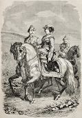 Old equestrian portrait of Isabella II Queen of Spain with her King consort. Original, from drawing