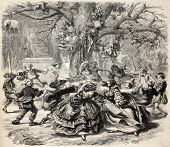 Old allegoric illustration of ring-a-ring o' roses. Original, from drawing of Marc, was published on