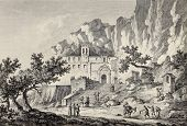 Santa Rosalia grotto, Mount Pellegrino, Palermo, Italy. By Chatelet and Du Parc, published on Voyage