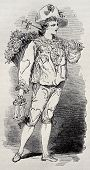 Old illustration of Rag sorter costume for Grand Masquerade Ball of 1868 season. Original, created by Bertall, was published on L'Illustration, Jounrnal Universel, Paris, 1868