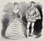 Old illustration of 17th century  aristocratic costumes  for Grand Masquerade Ball of 1868 season. O