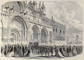 Old illustration of Daniele Manin's funeral in St. Mark's Basilica Venice, Italy. Original, created