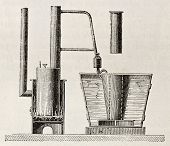 Old illustration of first absorption refrigerator apparatus invented by Carre Original, from unknown author, was published on L'Eau, by G. Tissandier, Hachette, Paris, 1873.