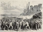 Old illustration of  workers riot at Hazard cool mine, near Charleroy, Belgium. Original, created by